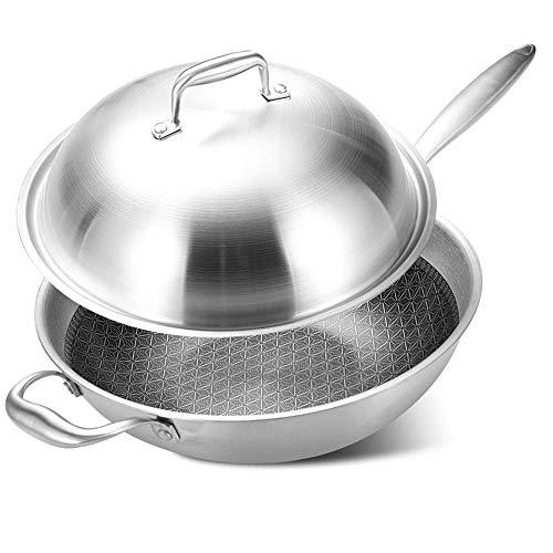 ZYING Wok Pan, Grueso de acero inoxidable Sartén con Mango ergonómico y antiadherente resistente a los arañazos de la superficie, robusto diseño que es gruesa
