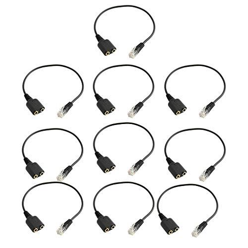 B Blesiya 10x Dual 3.5mm Hembra a RJ9 Macho Enchufe Auriculares Jack Audio Mic Adaptador Cable