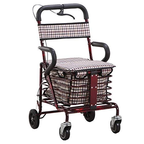 Lichtgewicht Opvouwbare 4 Wiel Rollator Walker met Handrem/Winkelwagen Inklapbare Trolley/Oudere Ouderdom Wandelstoel kan nemen om voedsel te kopen om te helpen Push The Small Cart-41x47x86-90cm Rode Wijn