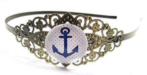 Anker Motiv Cabochon Haarreif Bronze-Farben Modeschmuck maritim