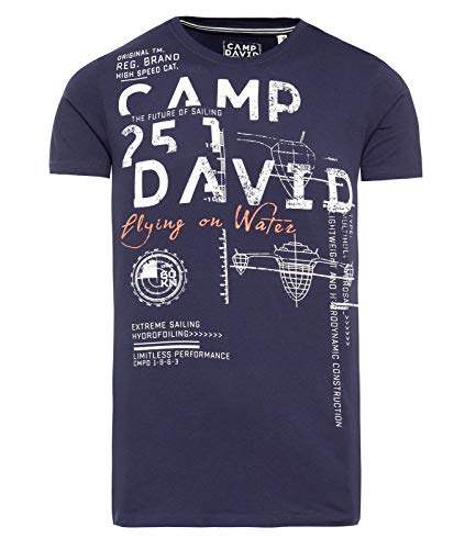 Camp David T-Shirt mit Used Print und Ausbrenner-Effekten neon Flame L