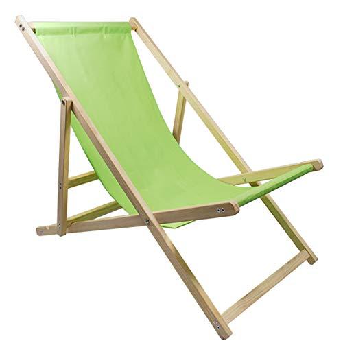 Helo Garten Strand Liegestuhl klappbar aus Holz bis 120 kg belastbar, Strandstuhl aus Kieferholz, 3-Fach verstellbare Lehne, wasserabweisender Bezug aus Oxford-Gewebe - Sonnenstuhl Farbe: Hellgrün