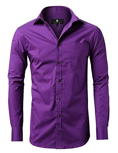 diig Men Slim Fit Long Sleeve Dress Shirt, Purple 17.5