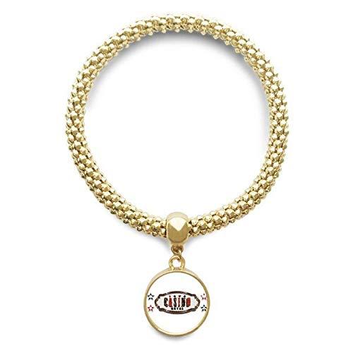 DIYthinker Damen Schwarz Rot Casino Schild Muster Goldene Armband Laufende Anhänger Schmuck-Kette