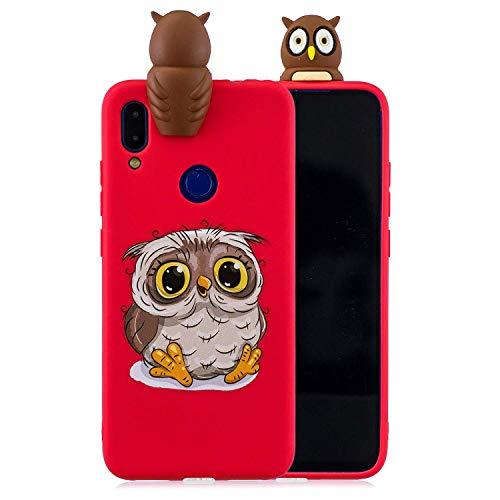 LAXIN Cute owl Case for Xiaomi Redmi Note 7,Soft 3D Silicone Case,Cute Fruit Rubber Cover,Cool Kawaii Cartoon Gel Cover for Kids Girls Boys Men Woman Fun Soft Silicone Shell