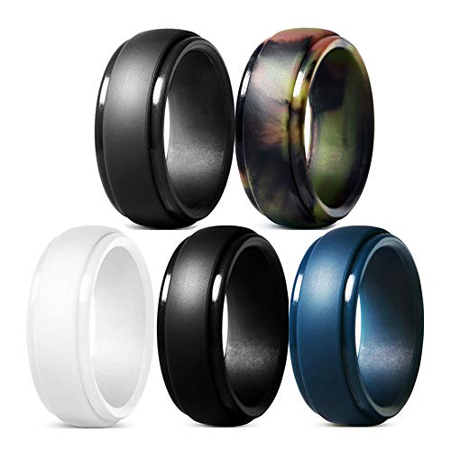 YTF Silicone Wedding Ring for Men, Rubber Silicone Wedding Bands, Durable Comfortable Soft and Skin Safe - 5 Pack (Black, White, Gray, Dark Blue, Camo, 8mm Wide)