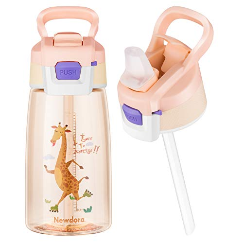 Newdora Kids Water Bottle, BPA Free Drinking Flaks with Safe Straw, Leakproof Cap and Carrying Loop, Ideal for School, Travel, Sports, Boys and Girls (giraffe)
