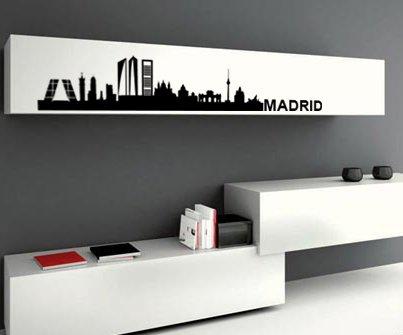 TOKPERSONAL Vinilo Decorativo para Pared, Adhesivo Skyline Madrid, decoración Comedor o salón (189_x_35, Negro)