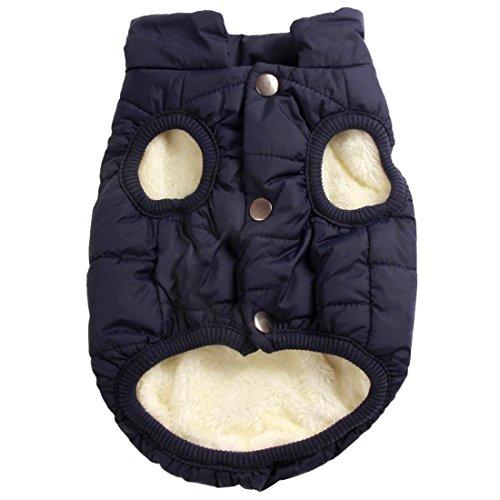 Mit Fleece gefütterte Hundejacke mit 2 Schichten von JoyDaog, sehr warm für den Winter und kaltes Wetter, extraweiche, winddichte Hundeweste(XL, blau)