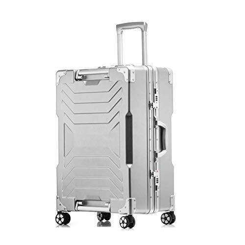 WSJ Telaio in Alluminio Viaggio Business Trolley Caso, Silent Caster, Valigia Impermeabile, Grande capacità, archiviazione ragionevole, 20-inch Boarding, antifurto Box,Silver