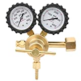 Cikonielf 0-800 PSI Regulador del nitrógeno Regulador de la presión del aire del gas con doble manómetro con presión de suministro de 0-800 PSI (Francia S21.8-14)