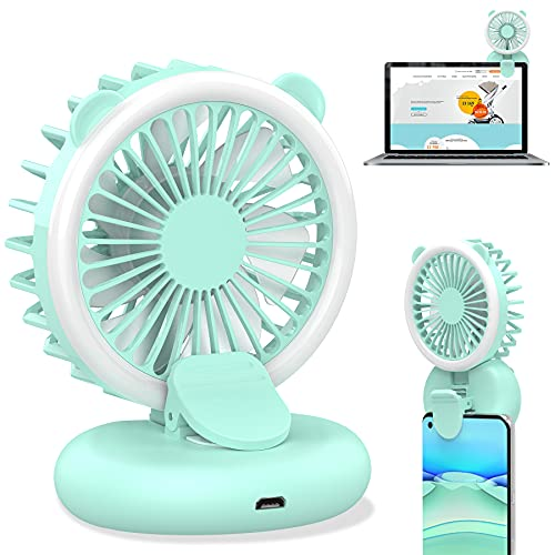 Ecesia Handheld Mini USB Fill Light Fan, Powerful Small Personal Portable Lightweight Handy Fan with Power Bank Strong Wind USB Rechargeable Cooling for Kids Girls Woman Home Outdoor Travel (Blue)