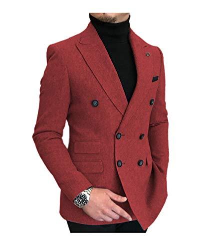 JinXuanYa Herren Anzug Zweiteilig Slim Fit Wolle Tweed Gebrochen Steigenders Revers Zweireihig Sakko für Business Freizeit Hochzeit (Anzugjacken+Anzughosen) rot-M