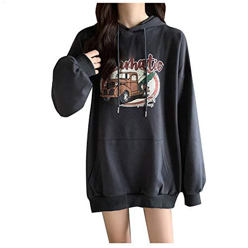Marrmo - Sudadera deportiva de manga larga con capucha para mujer gris oscuro L