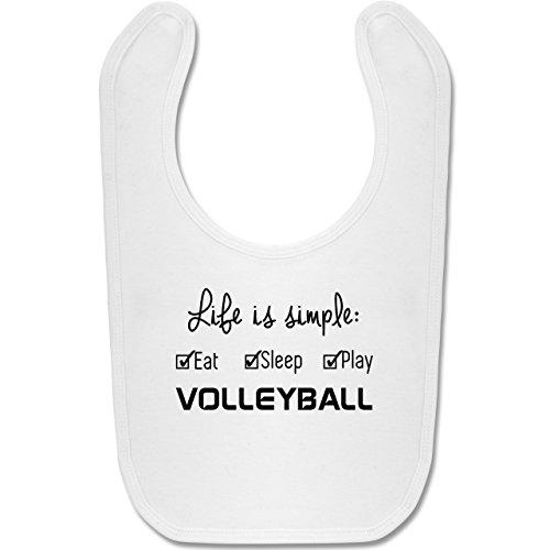 Sport Baby - Life is simple Volleyball - Unisize - Weiß - BZ12 - Baby Lätzchen Baumwolle