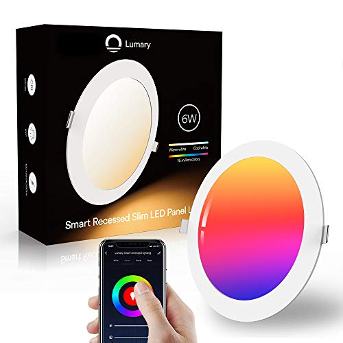 Downlight Led Techo Inteligente Ultrafina 6W 480LM, Lumary LED Empotrable Techo con Caja de Conexiones Controlada por APP, Funciona con Alexa, Google Home(6W-1PCS)