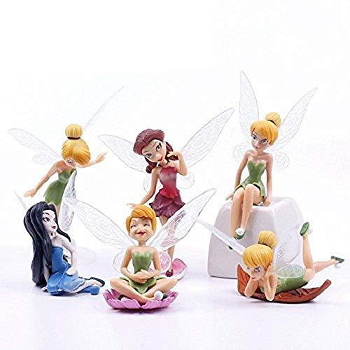 MateCam Feen-Figuren, verschiedene Miniatur-Figuren mit Blumen, Garten, Blumentopf, Puppenhaus-Dekoration, 6 Stück