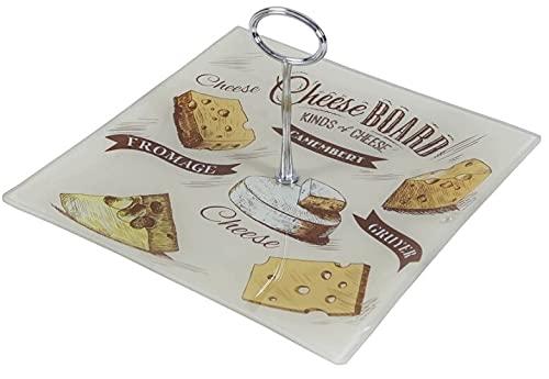 Plato para quesos cuadrado de cristal de 25cm - tartera cuadrada de cristal con asa