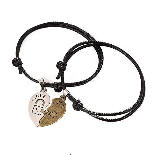 CHIY-GBC 2 unids/Conjunto diseño Bronce Plata Color Dos mitades corazón Costura par Pulsera para Mujeres y Hombres Cadena de Cuerda Pulseras emparejadas