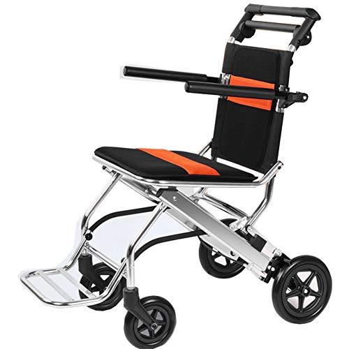 QIMENG Faltbarer Leichtgewicht Rollator,Tragbarer Rollstuhl, Leichter Roller Für Ältere Menschen, Ultraleichtes Reisen, Leicht Zu Verstauen, Mit Handbremse, Kann in Das Flugzeug Einsteigen