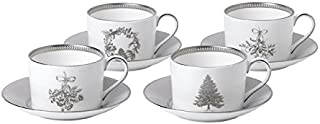 Wedgwood 40032858 Teacup and Saucer Set of 4, White