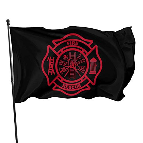 Oaqueen Flagge/Fahne Firefighter Garden Flag Yard Home Outdoor Decor Durable and Fade Resistant 3'x5' FT