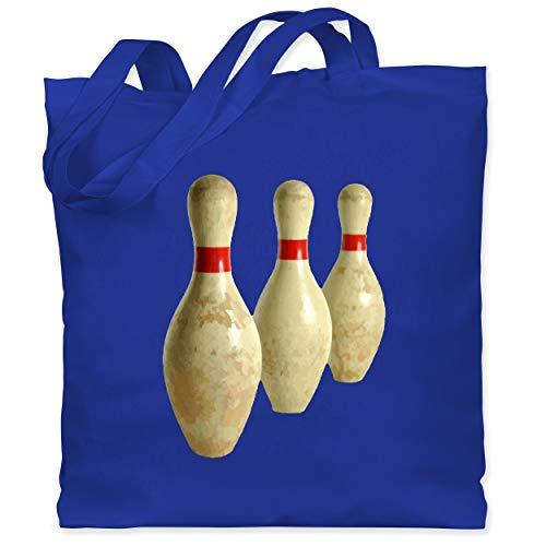 Shirtracer Bowling & Kegeln - Alte Pins Kegel Vintage - Unisize - Royalblau - Bowlingkugel - WM101 - Stoffbeutel aus Baumwolle Jutebeutel lange Henkel