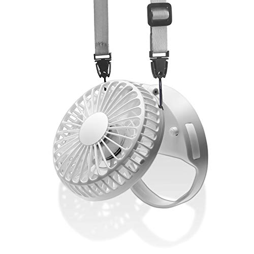 HandFan Personal Fan Necklace Small Portable Fan Rechargeable Neck Fan Battery Operated with Magnetic Switch/Strong Airflow/Mute & 3 Speed Mode for Travel Outdoors Camping (White)