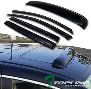 Topline Autopart Smoke Window Deflector Vent Shade Guard + Sunroof Moonroof Sun Moon Roof Visors 5 Pieces For 07-13 Acura MDX