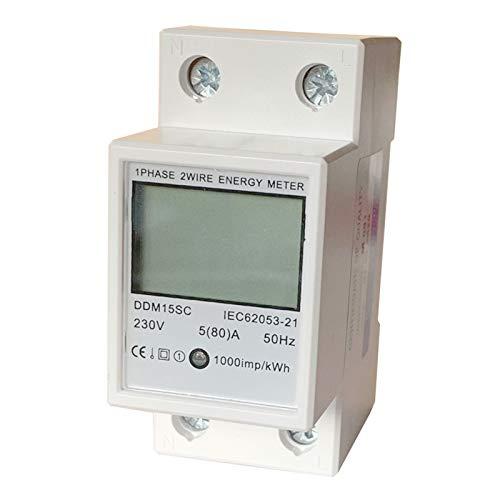JVJ LCD Wechselstromzähler Stromzähler Hutschiene 1 Phsig Phase 5(80) A 230V Zähler Energiezähler Wattmeter KWH