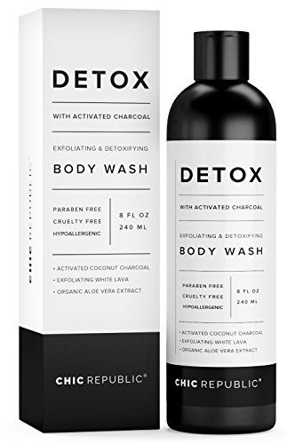 Exfoliating Body Wash with Activated Coconut Charcoal, Organic Body Wash White Lava, Aloe Vera, as Detox & Hypoallergenic Shower Gel, for Acne, Skin Rejuvenation, Sensitive Skin, Women Men