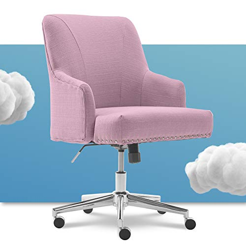 Serta Leighton Home Office Memory Foam, Height-Adjustable Desk Accent Chair with Chrome-Finished Stainless-Steel Base, Twill Fabric, Fresh Lilac