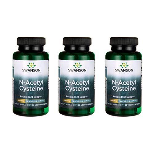 Swanson N-Acetyl L-Cysteine - Featuring Ajipure 600 mg 60 Veg Caps 3 Pack