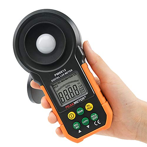 Kumiy Professional Digital Illuminance Meter -200,000 Lux, 0.0iLux High Resolution, Peak/Relative Value Test, Zero Point Calibration, Automatic Range Multifunctional Photometer