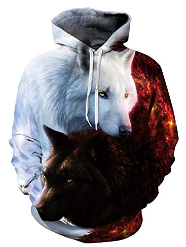 Unisex Mens Women 3D Red White Wolf Lightweight Hoodie Cool Printed Funny Hooded Hoodies Pullover Sweatshirts S/M