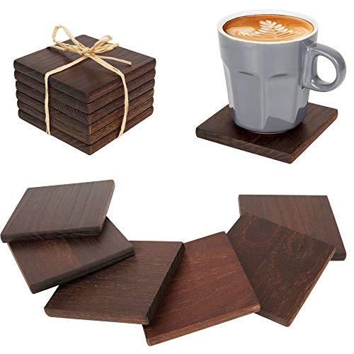 Kochflair Holz Untersetzer | Glasuntersetzer | Walnuss | 6er Set - 9cm - Quadratisch | Boho Deko Esszimmer | Untersetzer für Gläser, Tassen, Vasen & Blumen | Wiederverwendbar
