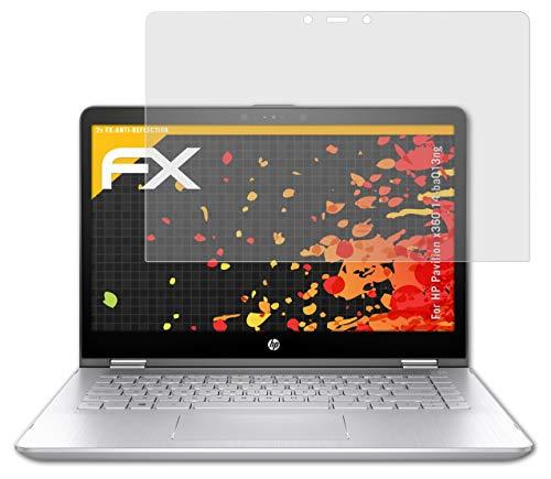 atFolix Panzerfolie kompatibel mit HP Pavilion x360 14-ba013ng Schutzfolie, entspiegelnde & stoßdämpfende FX Folie (2X)