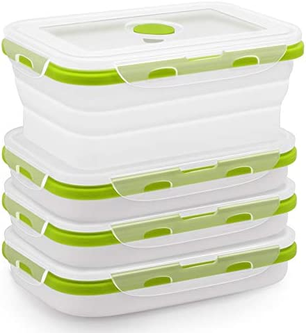 Silicone Food Storage Containers with BPA Free Airtight Plastic Lids Set of 4 Small and Large product image