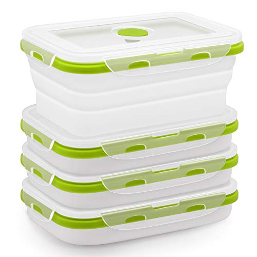 Silicone Food Storage Containers with Airtight Plastic Lids - Set of 4 Small and Large Collapsible Meal Prep Container for Kitchen or Lunch Boxes - Microwave and Freezer Safe Green