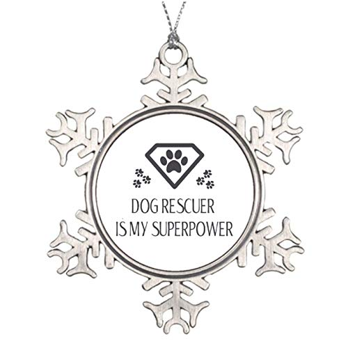 qidushop Christmas Ornaments Holiday Tree Ornament Dog Rescuer Is My Superpower Snowflake Ornament Crafts Christmas Decoration Thanksgiving Decoration
