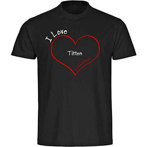 Herren T-Shirt Modern I Love Titten - schwarz - Größe S bis 5XL, Größe:XXXL