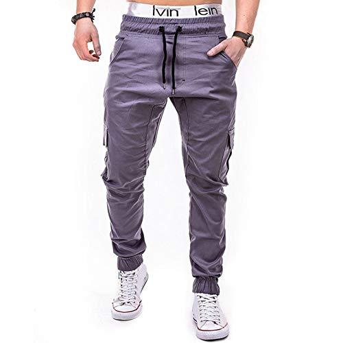 VRTUR Herren Jogginghose Sporthose Fitness Slim Fit Hose Freizeithose Joggers Streetwear Elegant JoggeHose Jersey-Hose Overalls Mit Taschen Männer (Grau-a, XL)