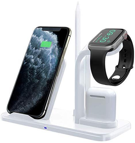 Bestrans Fast Wireless Charger 3 in 1 mit Stylus Stift Stand, Wireless Ladegerät Ladestation für AirPods Apple Watch 4/3/2/1, iPhone XS/XS Max/XR/X/8/8 Plus, alle Qi-fähigen Telefone (Weiß)