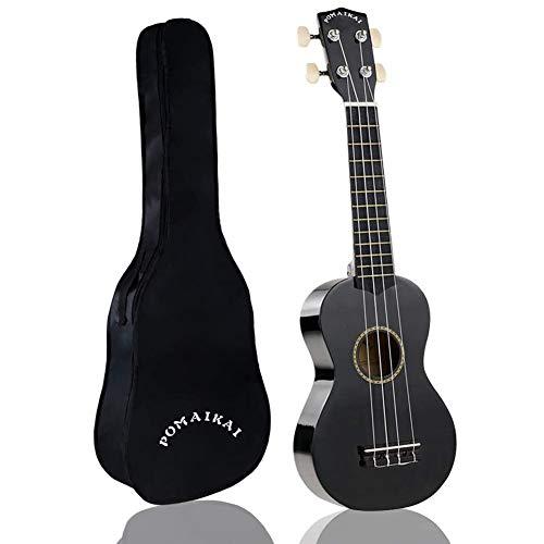 POMAIKAI Sopran Ukulele Uke 21 Zoll Hawaii Gitarre mit Tasche für Kinder und Anfänger (schwarz)
