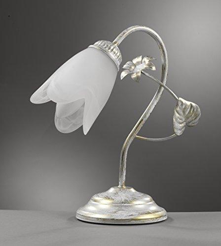 ONLI- Lámpara de mesa E14 Serie Petunia. Estructura de metal marfil claro y dorado con tulipa de cristal blanco con forma de flor. Estilo clásico, elegante, tradicional.