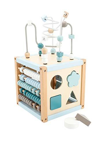 Bieco Cubo de motricidad Scandi-Chic, juguete de motricidad a partir de 1 año, moderno centro de actividad para bebés, de madera, dados de actividad para bebés con juego de ranuras y lazo motricidad