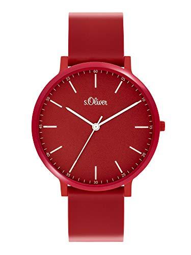s.Oliver Unisex– Erwachsene Analog Quarz Uhr mit Silicone Armband SO-3953-PQ