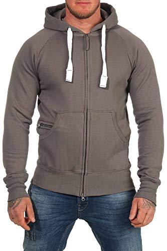 Happy Clothing Sudadera con Capucha para Hombre, Hoodie con Cremallera, Disponible en Tallas Grandes, Größe Textil:S, Farbe:Gris Antracita/Carbon