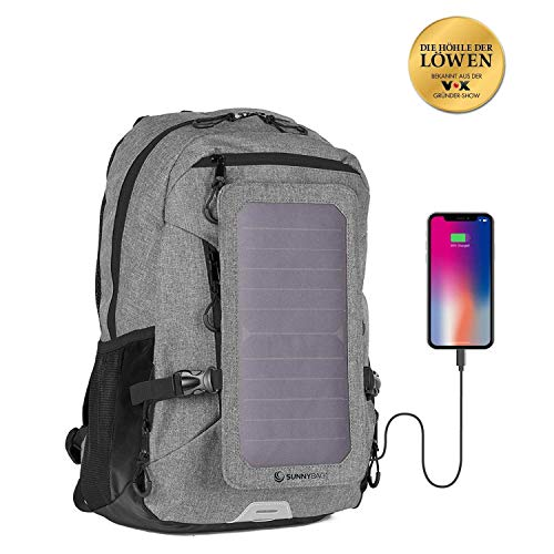 SunnyBAG Explorer+ Solar Backpack | World's Strongest Solar Panel for Charging Smartphones and All USB-Devices on The go | 15l Volume and 15'' Laptop Compartment (Grey Black)