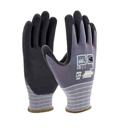 PRO FIT   12 Paar Nitrilschaum-Handschuhe   Arbeitshandschuhe atmungsaktiv   grau/Schwarze Montagehandschuhe   Feinstrickhandschuhe mit Nitrilschaum-Beschichtung   Größe 11